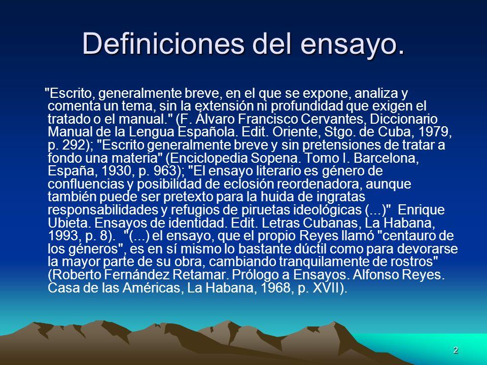 Definiciones del ensayo.