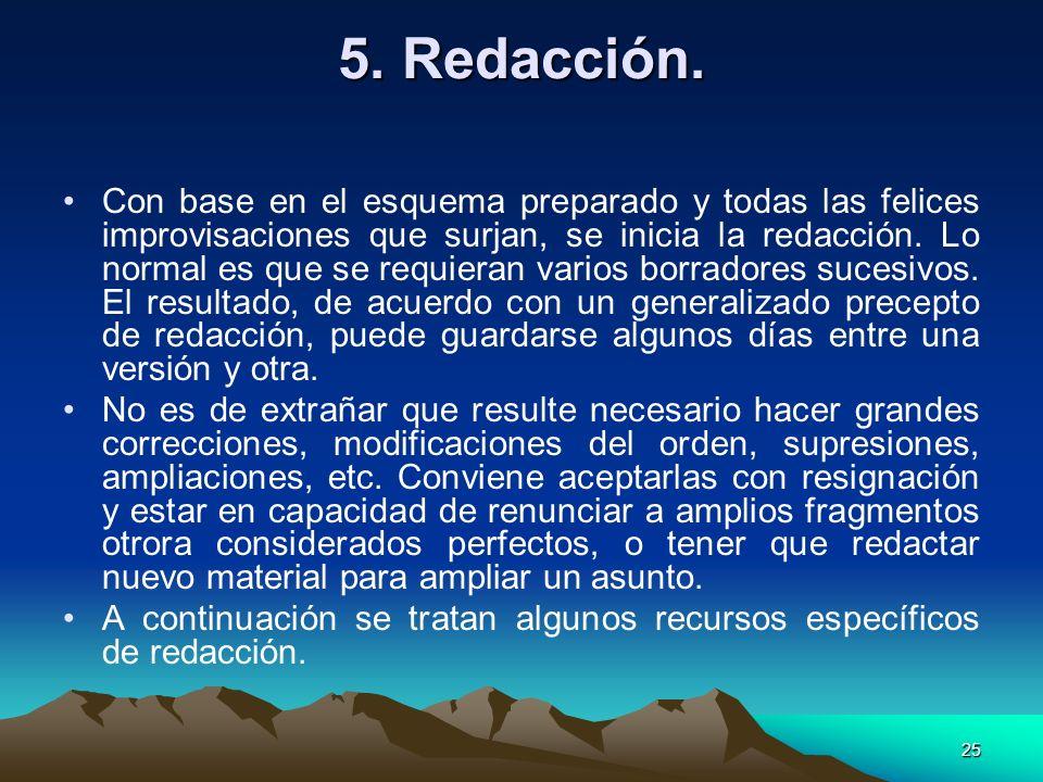 5. Redacción.
