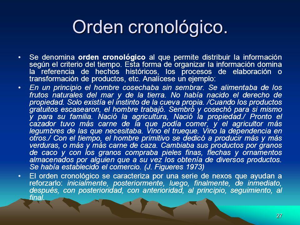 Orden cronológico.