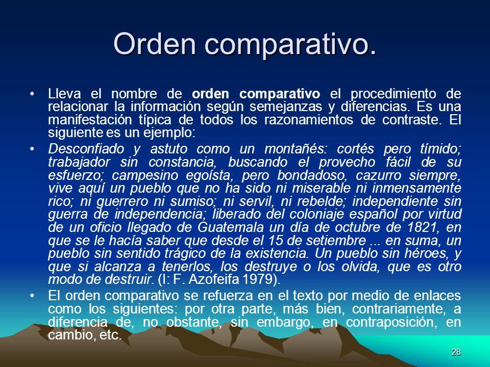 Orden comparativo.