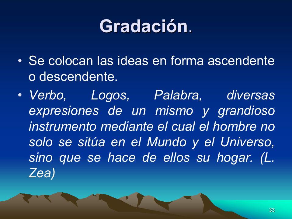 Gradación. Se colocan las ideas en forma ascendente o descendente.