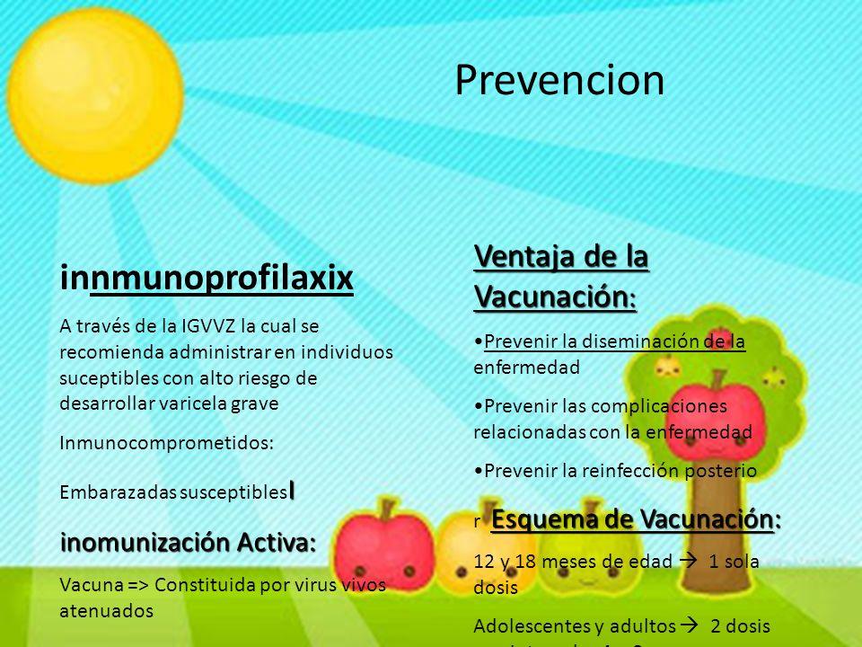 Prevencion innmunoprofilaxix Ventaja de la Vacunación: