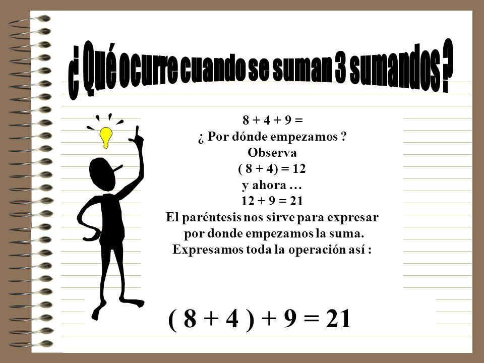 ( 8 + 4 ) + 9 = 21 ¿ Qué ocurre cuando se suman 3 sumandos