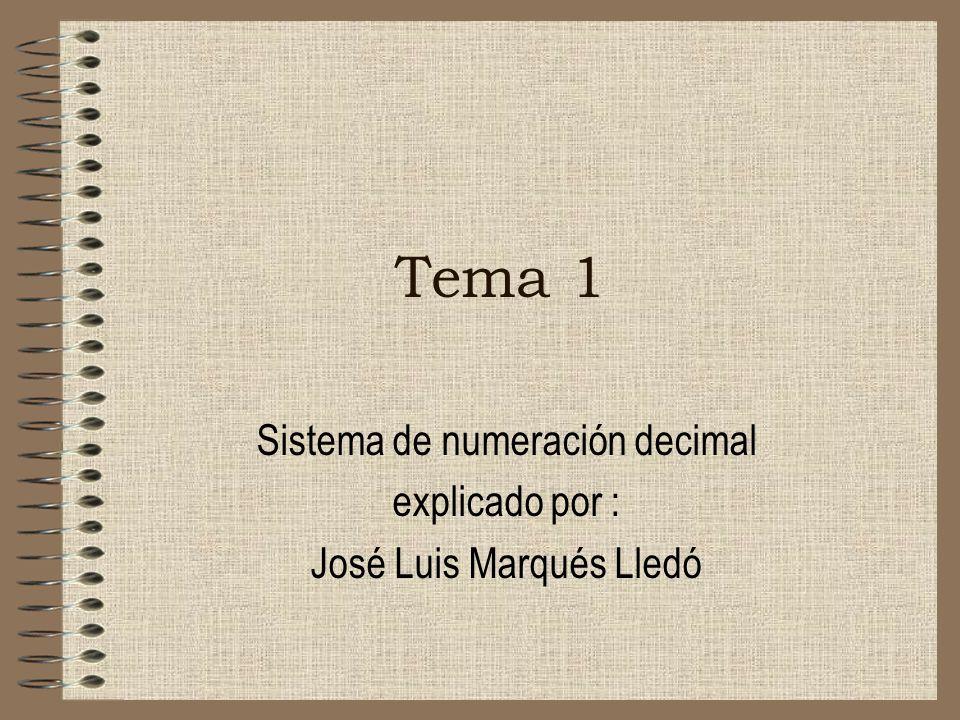 Sistema de numeración decimal explicado por : José Luis Marqués Lledó
