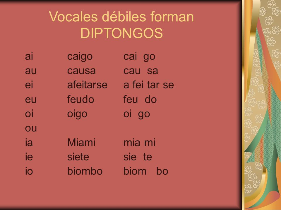 Vocales débiles forman DIPTONGOS