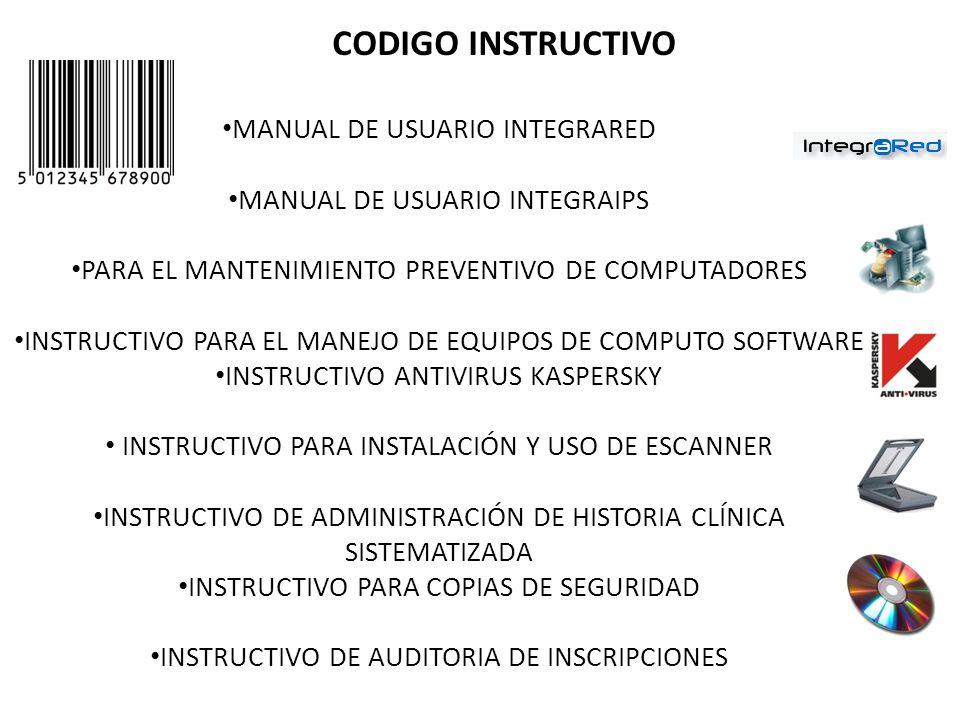 CODIGO INSTRUCTIVO MANUAL DE USUARIO INTEGRARED