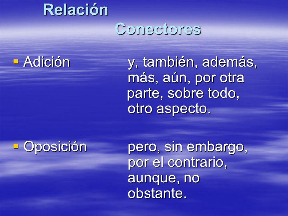 Relación Conectores Adición y, también, además, más, aún, por otra parte, sobre todo, otro aspecto.