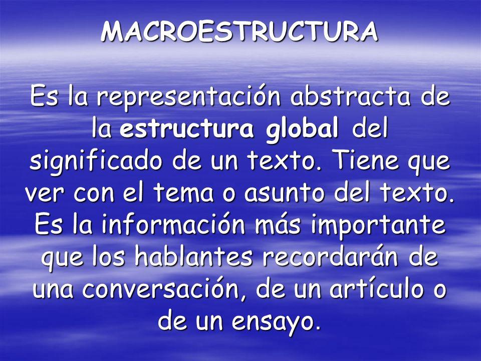 MACROESTRUCTURA Es la representación abstracta de la estructura global del significado de un texto.