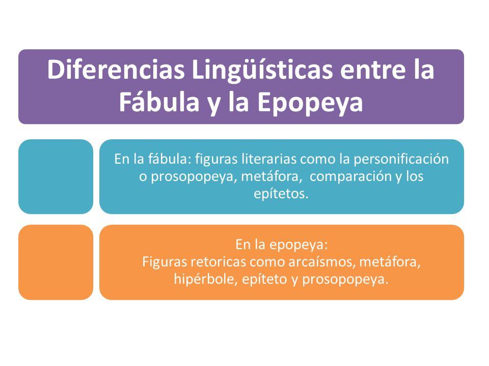 Diferencias Linguisticas Entre La Fabula Y Epopeya