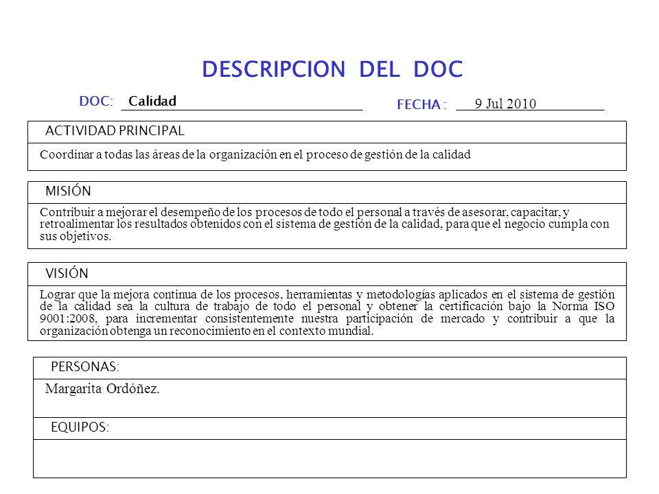 DESCRIPCION DEL DOC 9 Jul 2010 Margarita Ordóñez. DOC: Calidad FECHA :