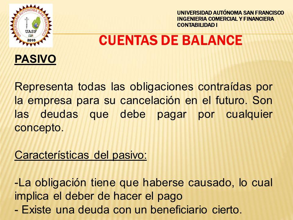 CUENTAS DE BALANCE PASIVO