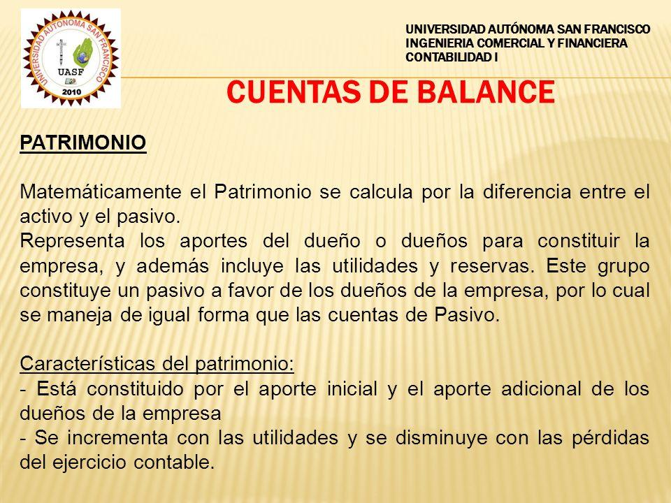 CUENTAS DE BALANCE PATRIMONIO