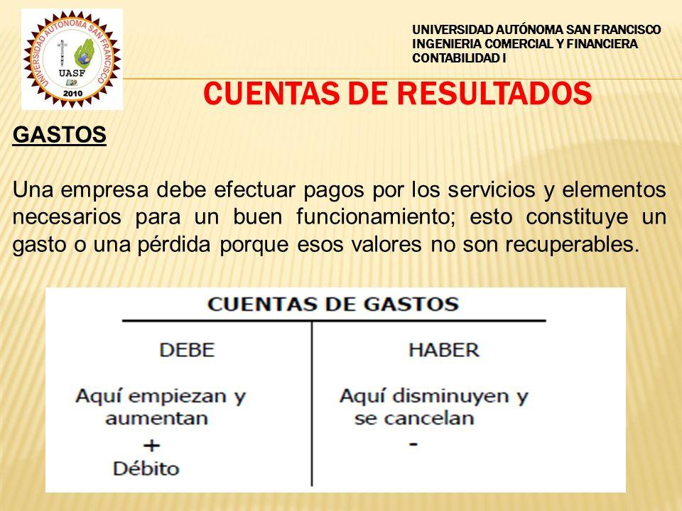 CUENTAS DE RESULTADOS GASTOS