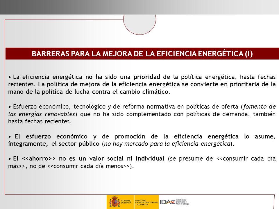 BARRERAS PARA LA MEJORA DE LA EFICIENCIA ENERGÉTICA (I)