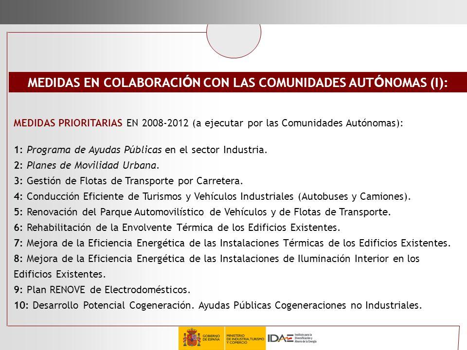 MEDIDAS EN COLABORACIÓN CON LAS COMUNIDADES AUTÓNOMAS (I):