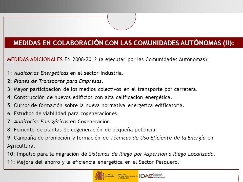 MEDIDAS EN COLABORACIÓN CON LAS COMUNIDADES AUTÓNOMAS (II):