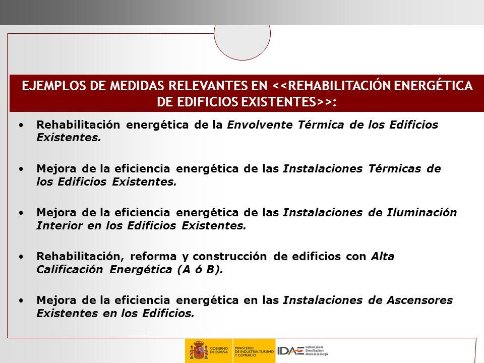 EJEMPLOS DE MEDIDAS RELEVANTES EN <<REHABILITACIÓN ENERGÉTICA DE EDIFICIOS EXISTENTES>>: