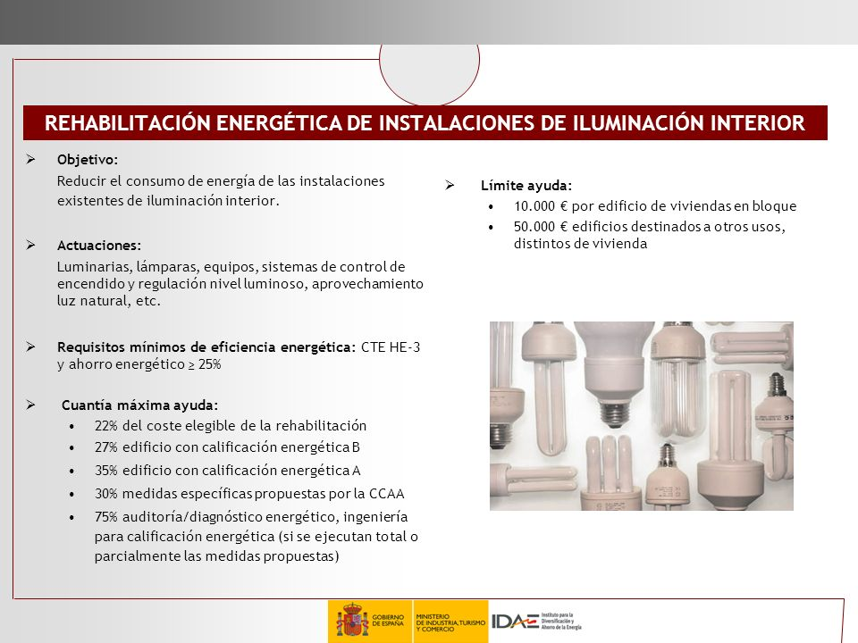 REHABILITACIÓN ENERGÉTICA DE INSTALACIONES DE ILUMINACIÓN INTERIOR