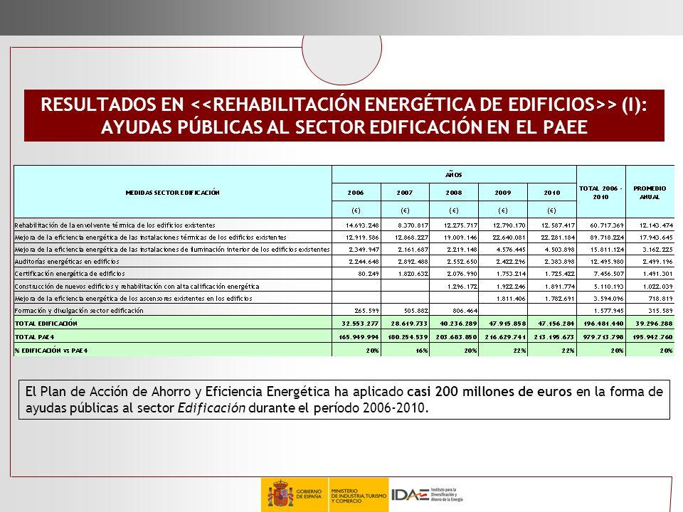 AYUDAS PÚBLICAS AL SECTOR EDIFICACIÓN EN EL PAEE