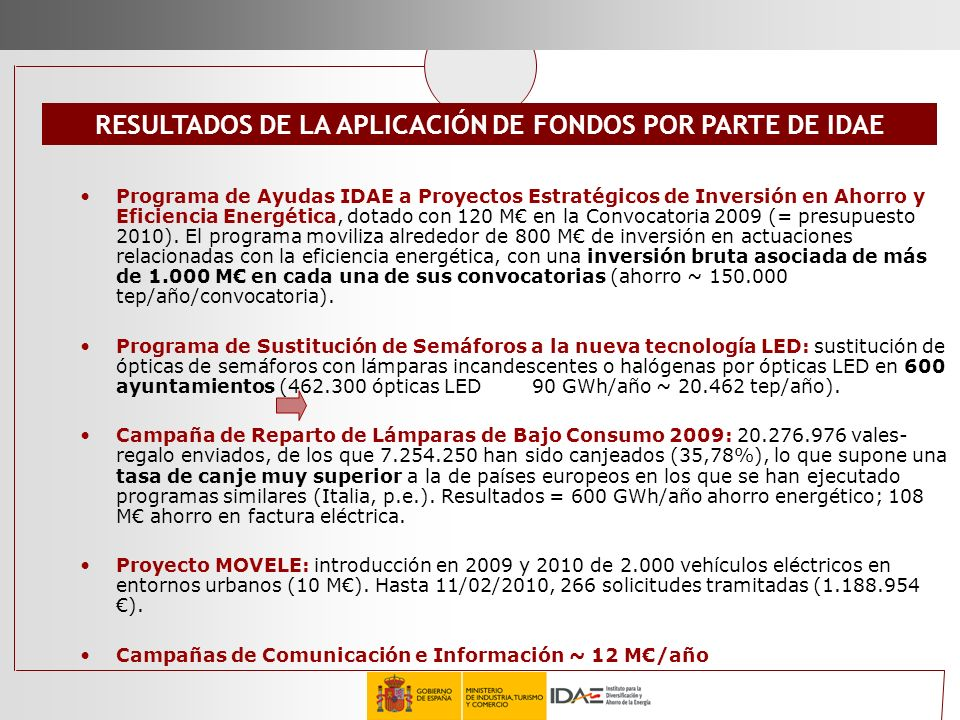 RESULTADOS DE LA APLICACIÓN DE FONDOS POR PARTE DE IDAE