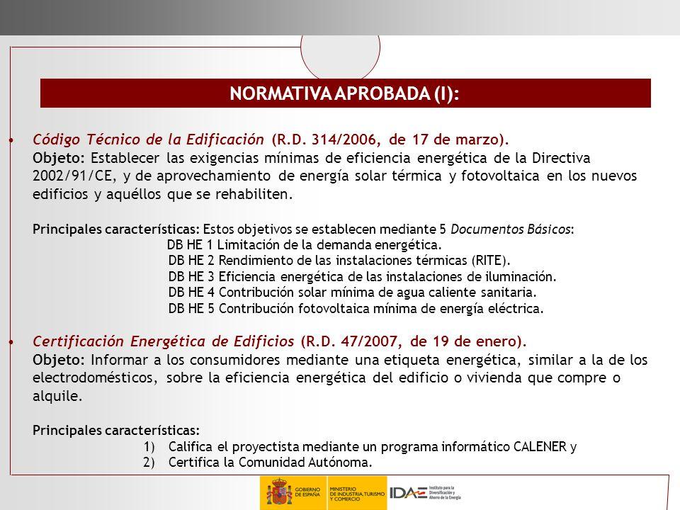 NORMATIVA APROBADA (I):