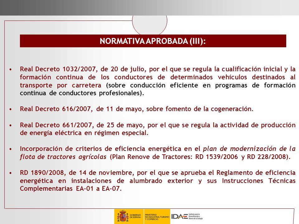 NORMATIVA APROBADA (III):