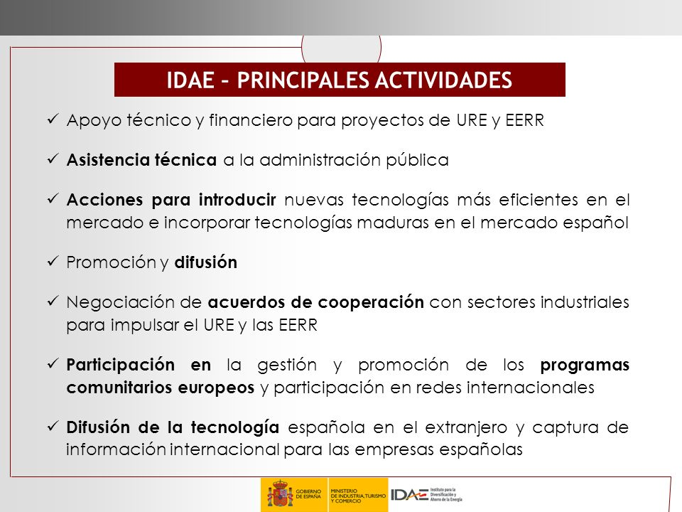 IDAE – PRINCIPALES ACTIVIDADES