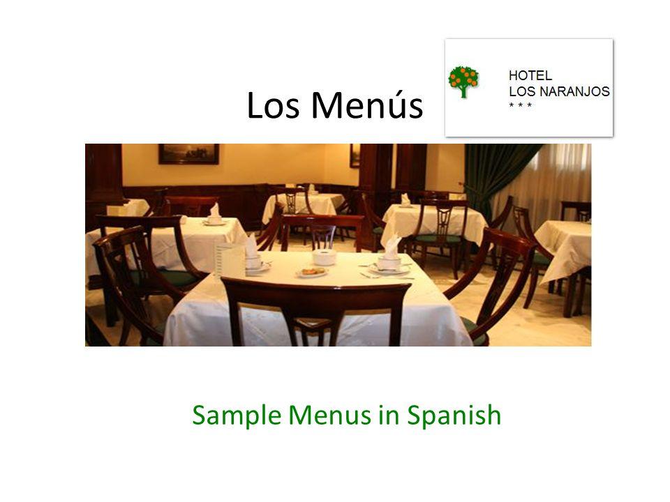Sample Menus in Spanish
