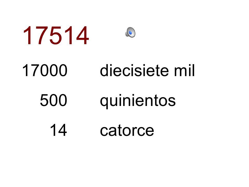 17514 17000 diecisiete mil 500 quinientos 14 catorce