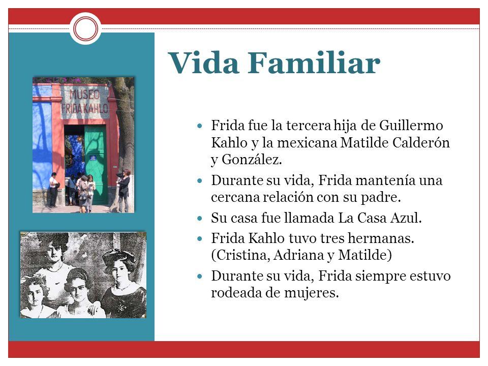 Vida FamiliarFrida fue la tercera hija de Guillermo Kahlo y la mexicana Matilde Calderón y González.