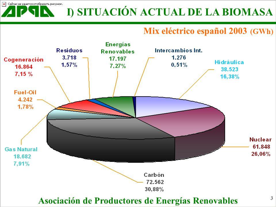 Mix eléctrico español 2003 (GWh)