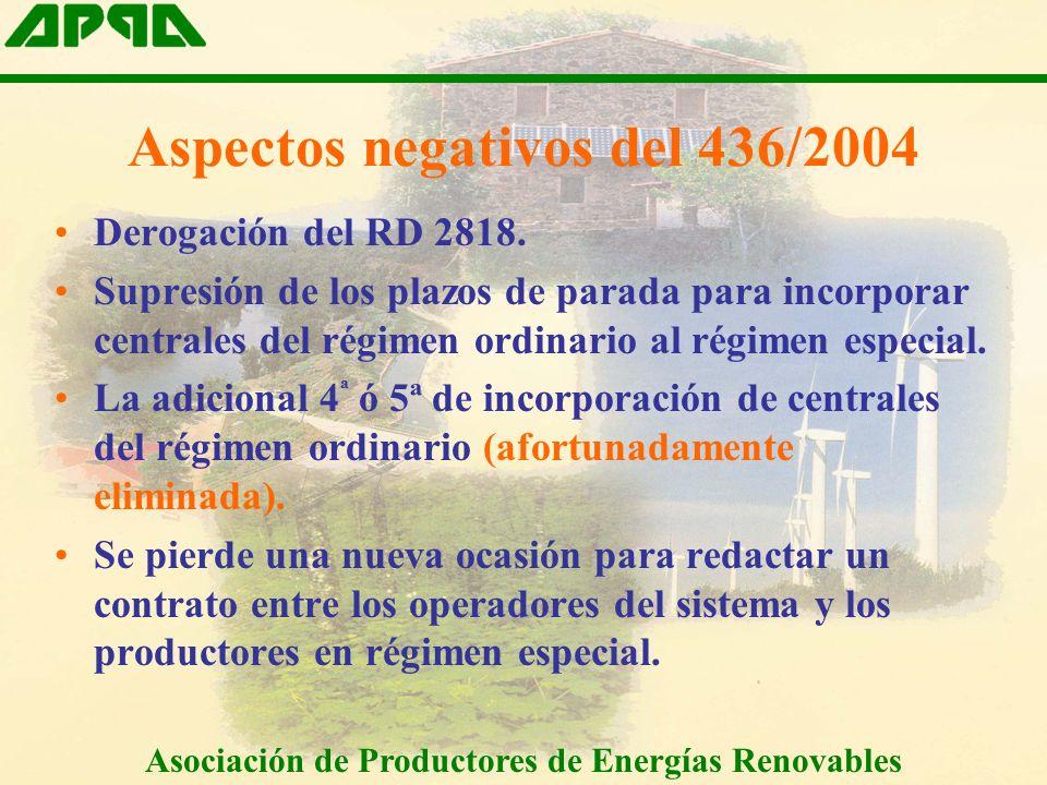 Aspectos negativos del 436/2004