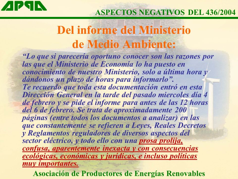 Del informe del Ministerio de Medio Ambiente: