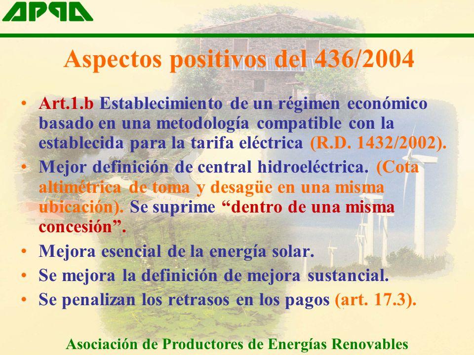 Aspectos positivos del 436/2004