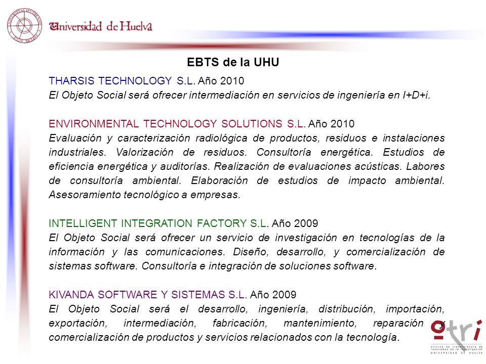 EBTS de la UHU THARSIS TECHNOLOGY S.L. Año 2010