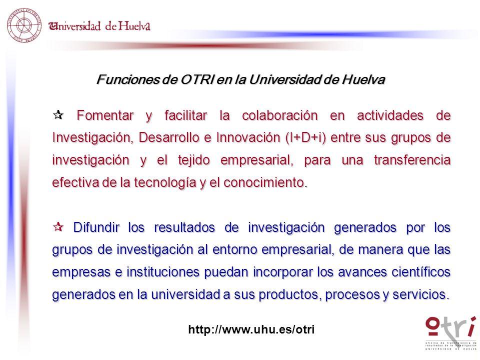 Funciones de OTRI en la Universidad de Huelva