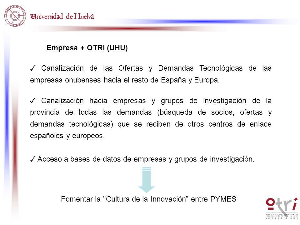 Empresa + OTRI (UHU) ✓ Canalización de las Ofertas y Demandas Tecnológicas de las empresas onubenses hacia el resto de España y Europa.