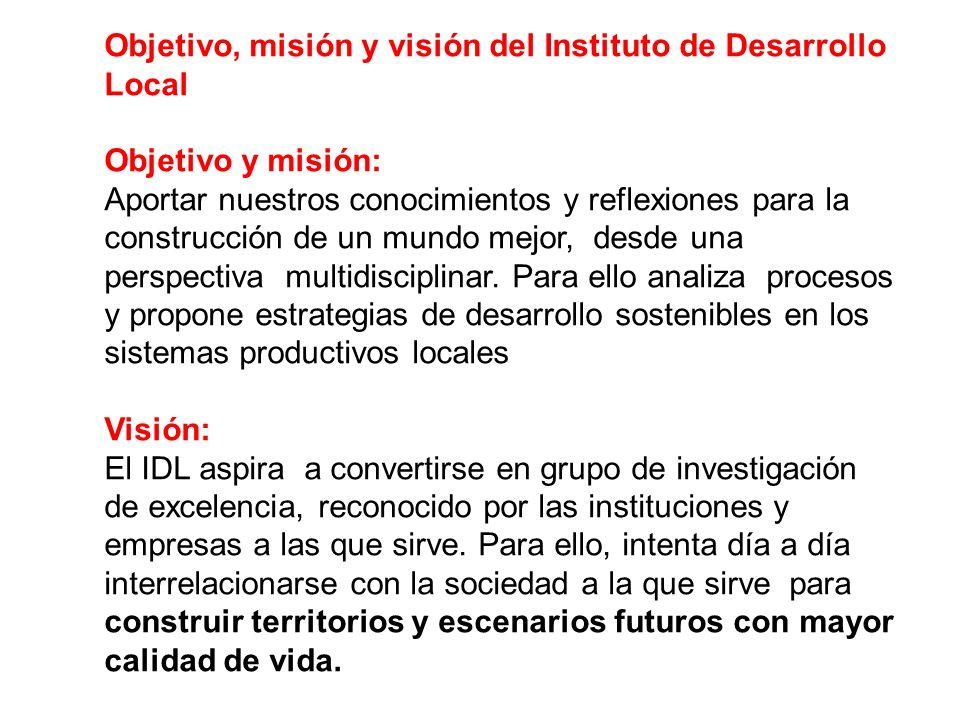 Objetivo, misión y visión del Instituto de Desarrollo Local