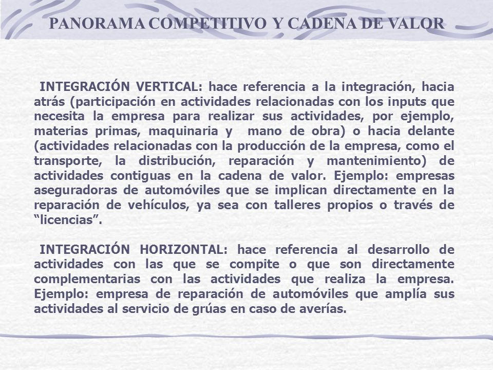 PANORAMA COMPETITIVO Y CADENA DE VALOR