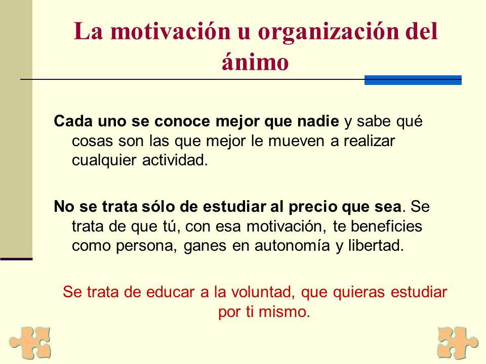 La motivación u organización del ánimo