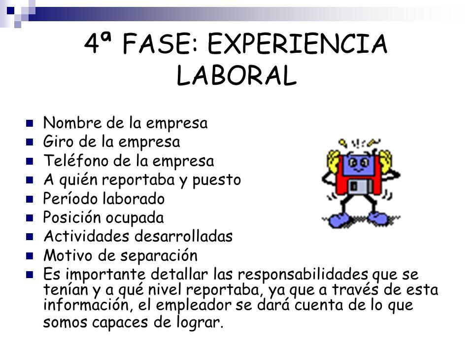 4ª FASE: EXPERIENCIA LABORAL