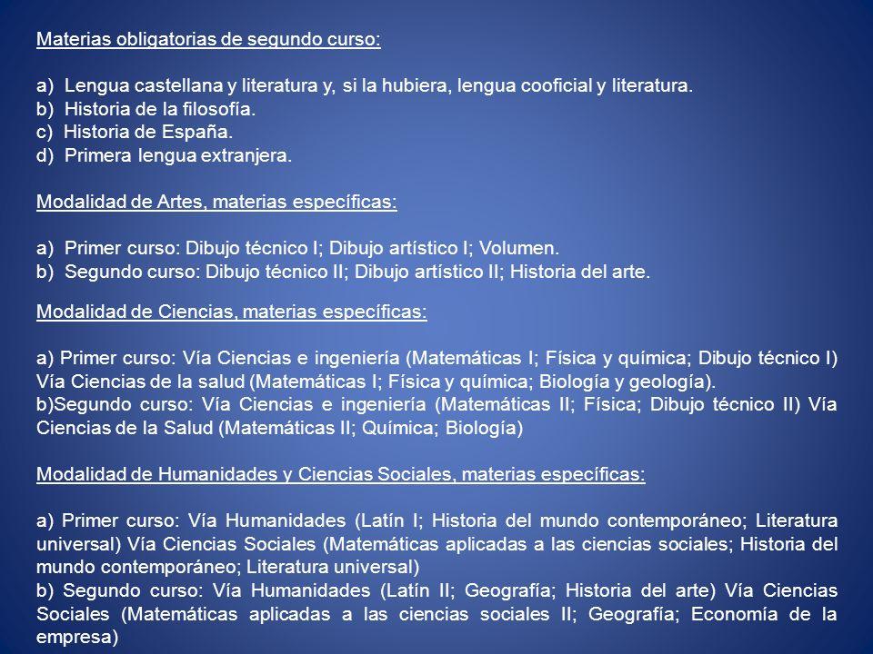 Materias obligatorias de segundo curso: