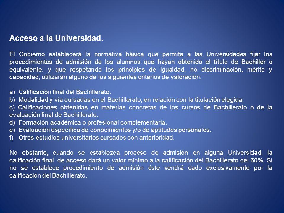 Acceso a la Universidad.