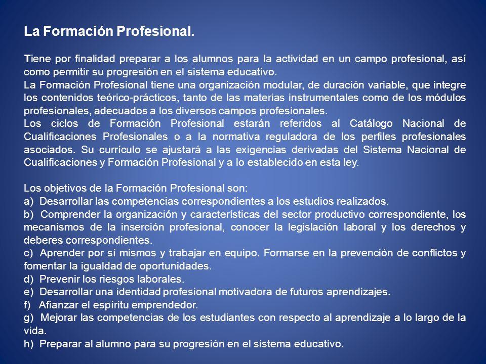 La Formación Profesional.