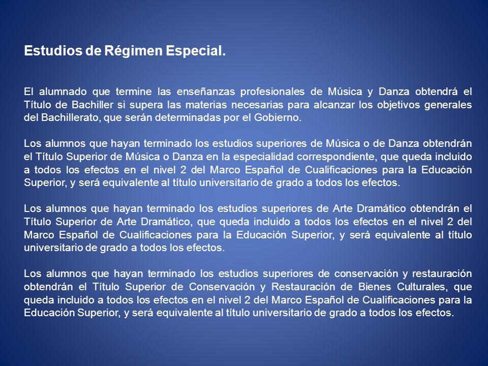 Estudios de Régimen Especial.