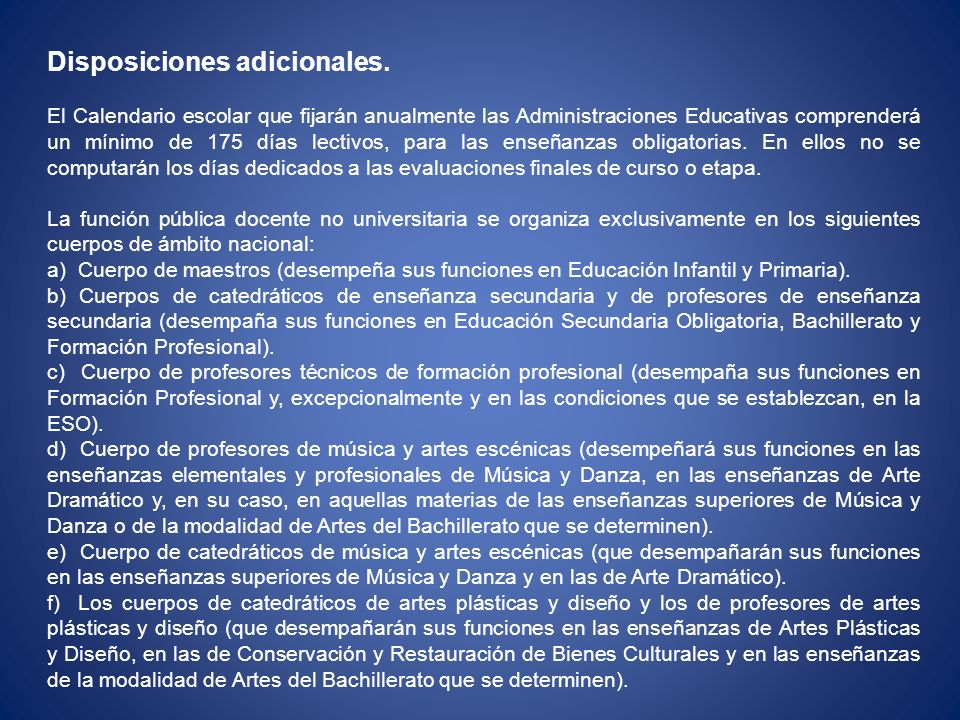 Disposiciones adicionales.