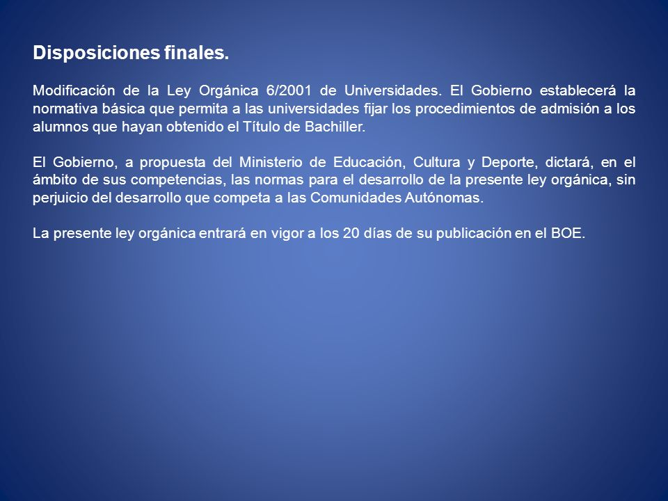 Disposiciones finales.