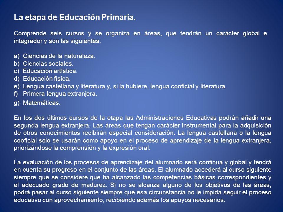 La etapa de Educación Primaria.