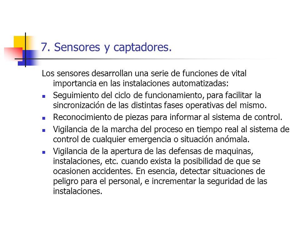 7. Sensores y captadores. Los sensores desarrollan una serie de funciones de vital importancia en las instalaciones automatizadas:
