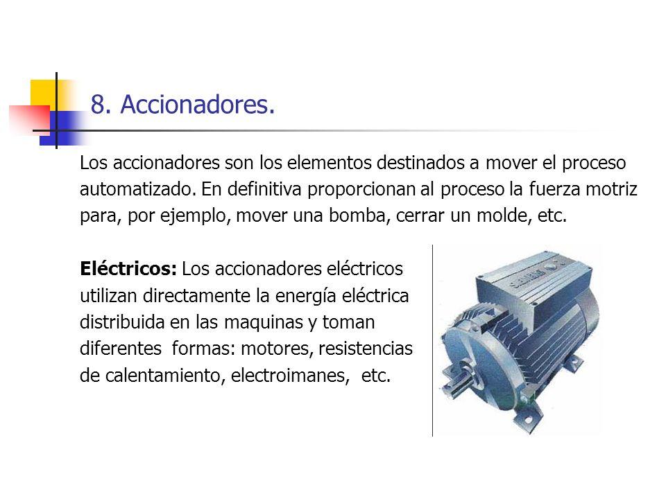 8. Accionadores. Los accionadores son los elementos destinados a mover el proceso.
